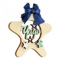 Estrella madera con nombre personalizados